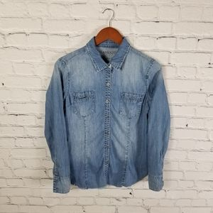 BLANKNYC button up western chambray distressed top